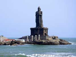 Thiruvalluvar statue in Kanyakumari from our Kanyakumari travel guide